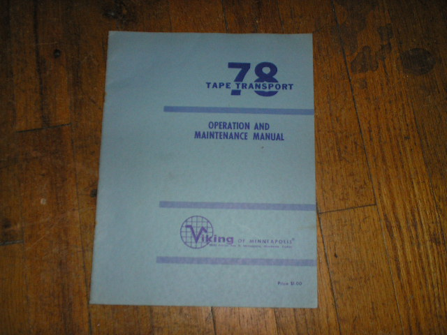 78 Tape Transport Operating Instruction Manual  Viking