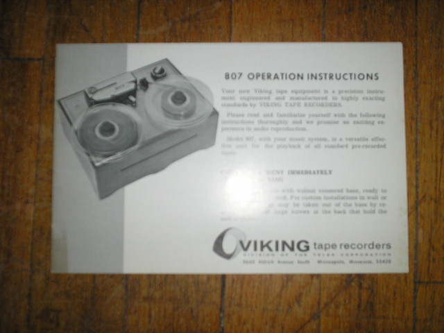 807 Reel to Reel Operating Instruction Manual  Viking