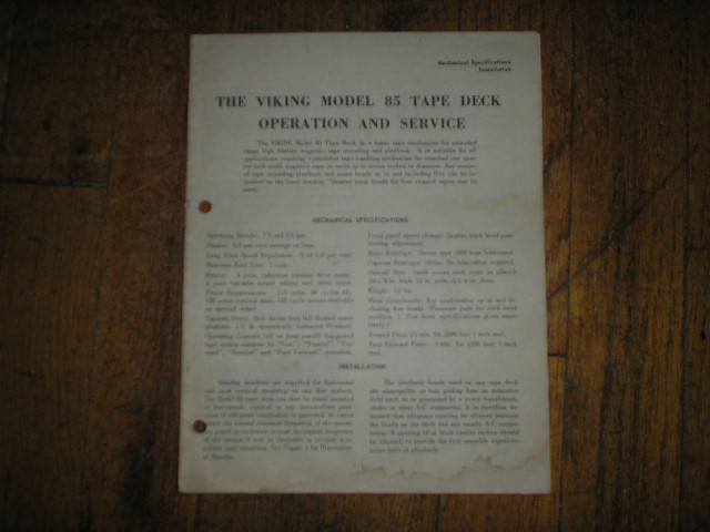 85 Reel to Reel Operating Service Instruction Manual  Viking