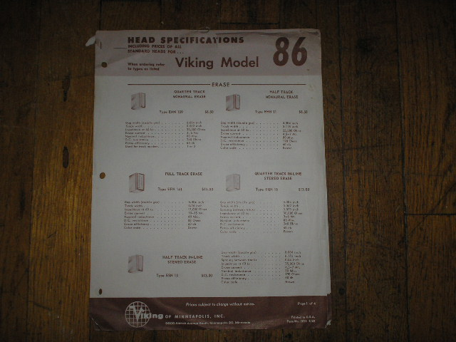 86 Tape Transport Head Specification Sheets  Viking