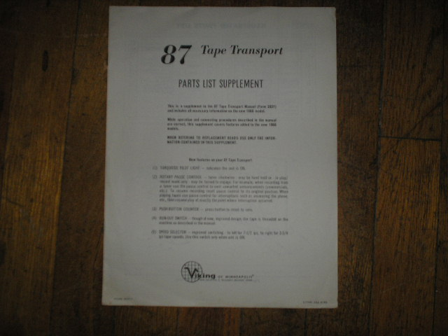 87 Tape Transport Parts List Supplement  Viking