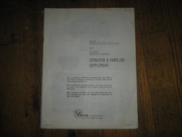 88 880 Tape Transport Operating Instruction Manual and Parts List Supplement  Viking