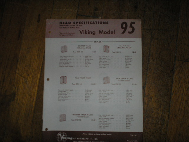 95 Head Specification Data Sheet  Viking