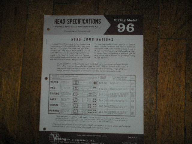96 Head Specification Data Sheet  Viking
