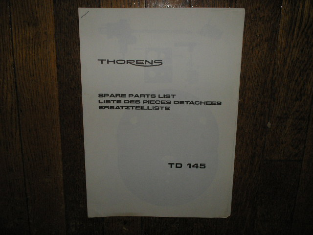 TD 145 Turntable Service Parts Manual 2