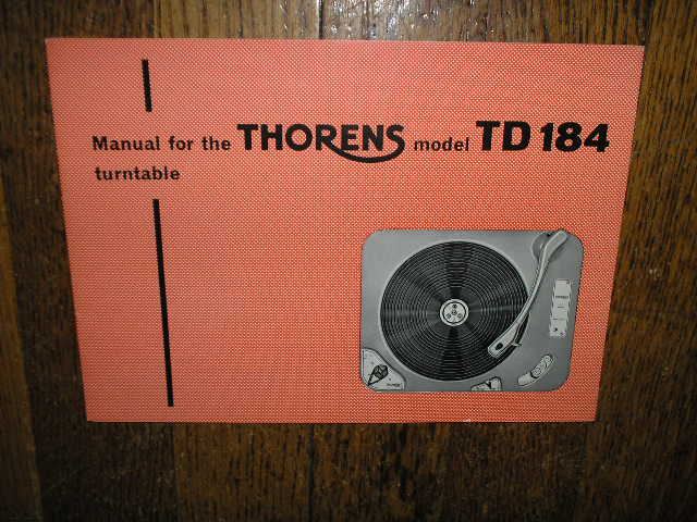 TD 184 Turntable Operator Manual