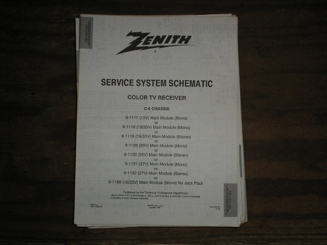 C-5 CM-143/C C-5 A B Chassis 9-1117 9-1118 9-1119 9-1129 9-1130 9-1131 9-1132 9-1189 TV Service Diagram Service Information With Schematics