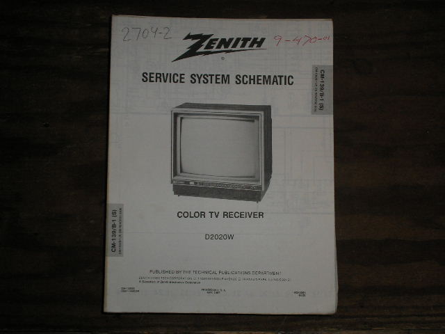 D2020W TV Service Diagram CM-139 B-1 S T Chassis Television Service Information With Schematics