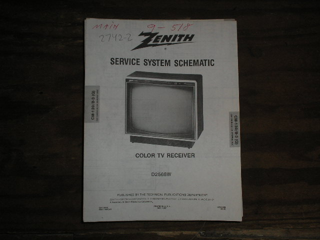 D2568W TV Service Diagram CM-139 B-3 Q R Chassis Television Service Information with Schematics