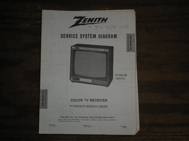 H1963A H 1963S H1963W TV Service Diagram Television Service Information With Schematics