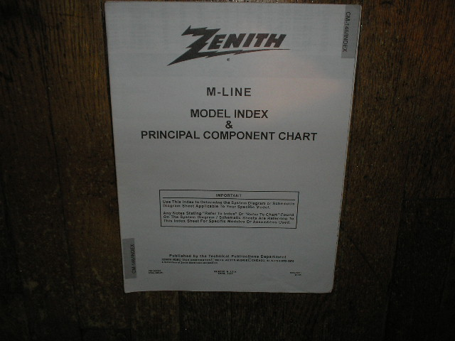 M-Line Model Index and Principal Component List