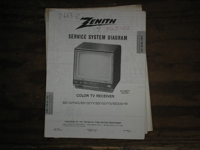 SD1327W3 SD1327Y SD1327Y3 TV Service Diagram CM-139 B-1 K L Chassis Television Service Information With Schematics