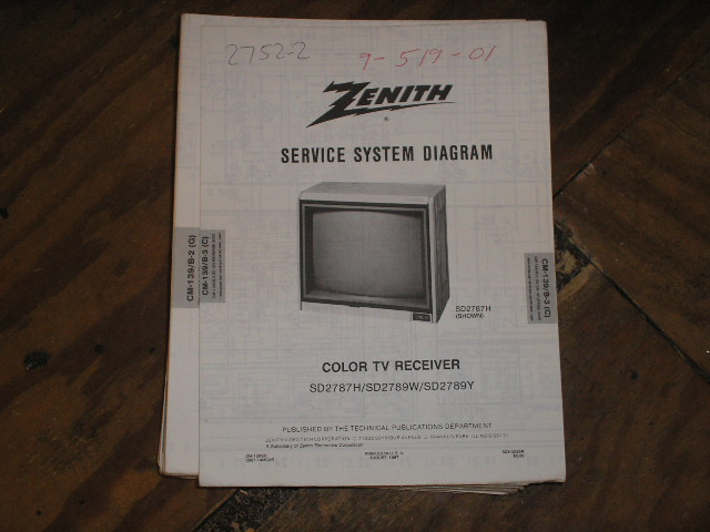SD2787H SD2789W SD2789Y TV_Service Diagram CM-139 B-3 C D Chassis Television Service Information With Schematics