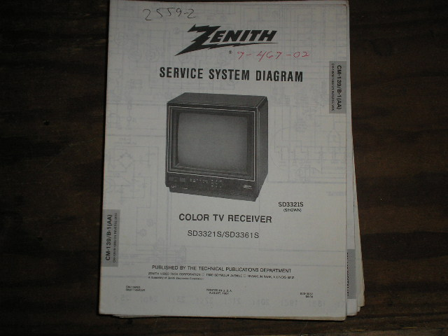 SD3321S SD3361S TV Service Diagram CM-139 B-1 AA BB Chassis Television Service Information With Schematics