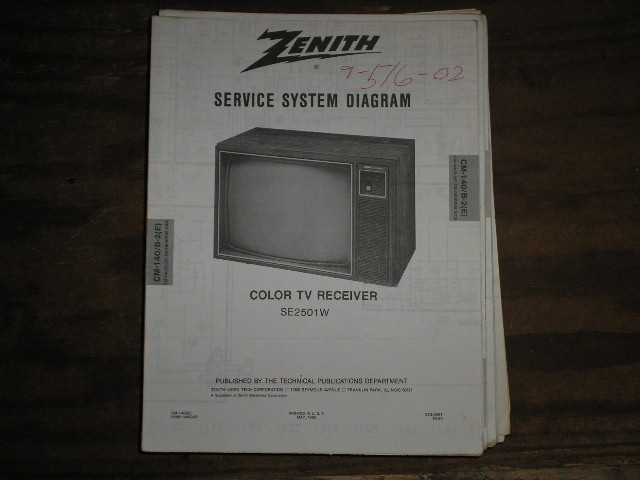 SE2501W TV Service Diagram CM-140 B-2 E F Chassis Television Service Information With Schematics With Schematics