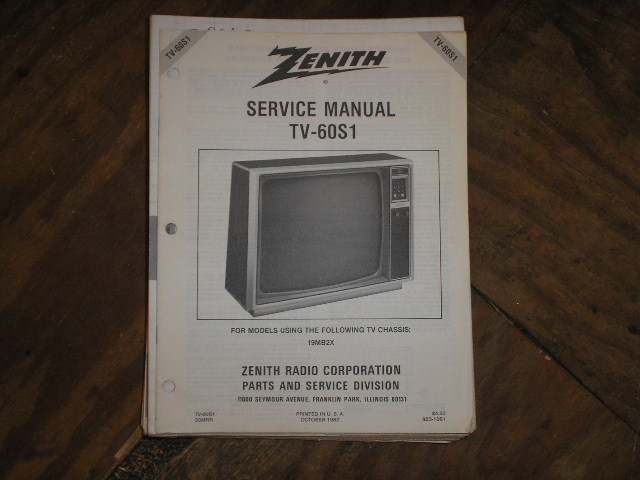 TV-60S1 Television Service Information With Schematics