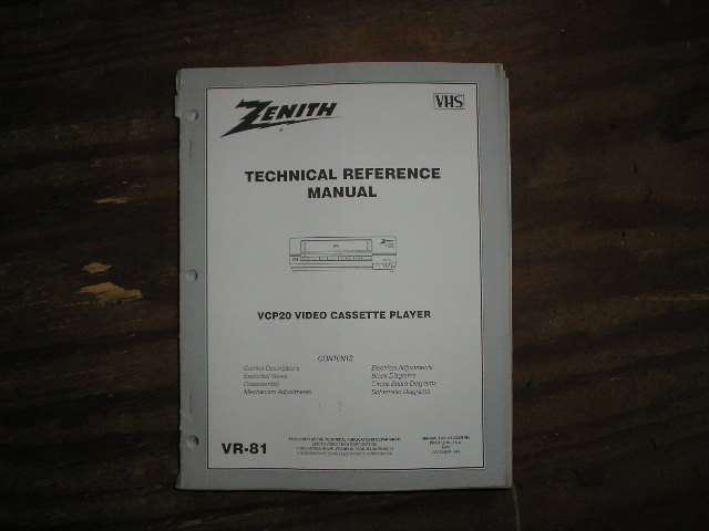 Zenith VCP20 VCR Technical Reference Manual... 
