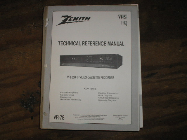 Zenith VRF300HF VCR Technical Reference Manual... 