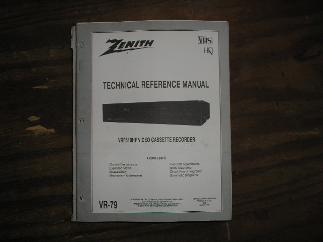 Zenith VRF610HF VCR Technical Reference Manual... 