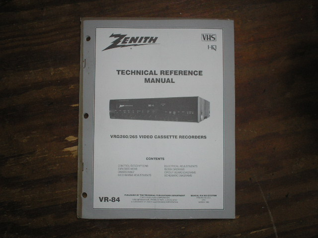 Zenith VRG260 VRG265 VCR Technical Reference Manual... 