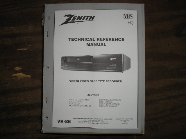 Zenith VRG90Manual VR-86