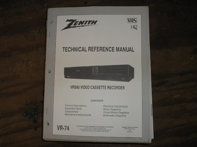 Zenith VRS60 VCR Technical Reference Manual... 