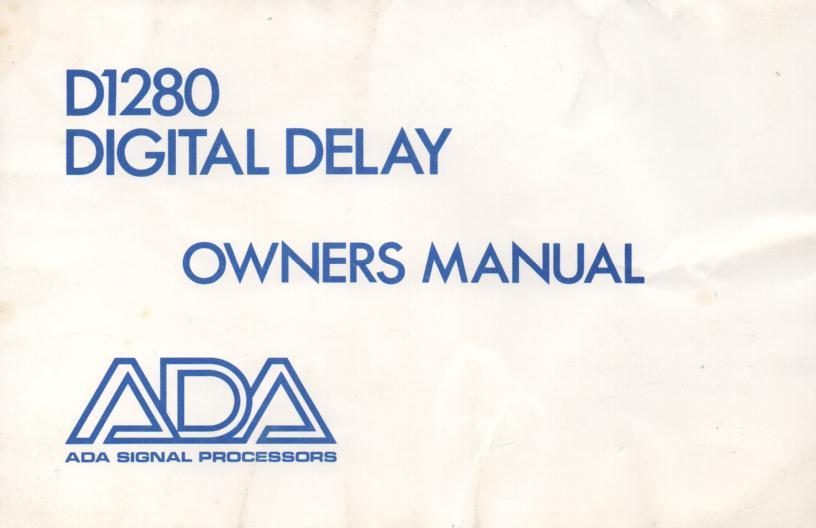 D1280 Digital Delay Owners Manual