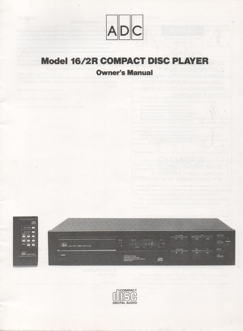 16/2R CD Player Owners Manual
