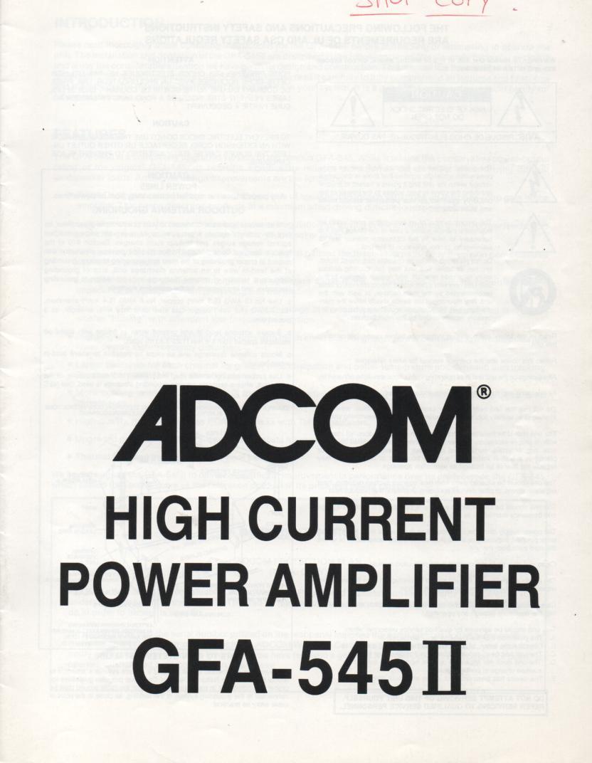 GFA-545 II Power Amplifier Owners Manual