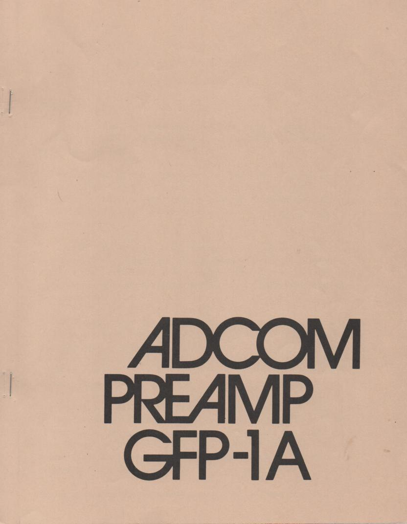 GFP-1A Pre-Amplifier Owners Manual