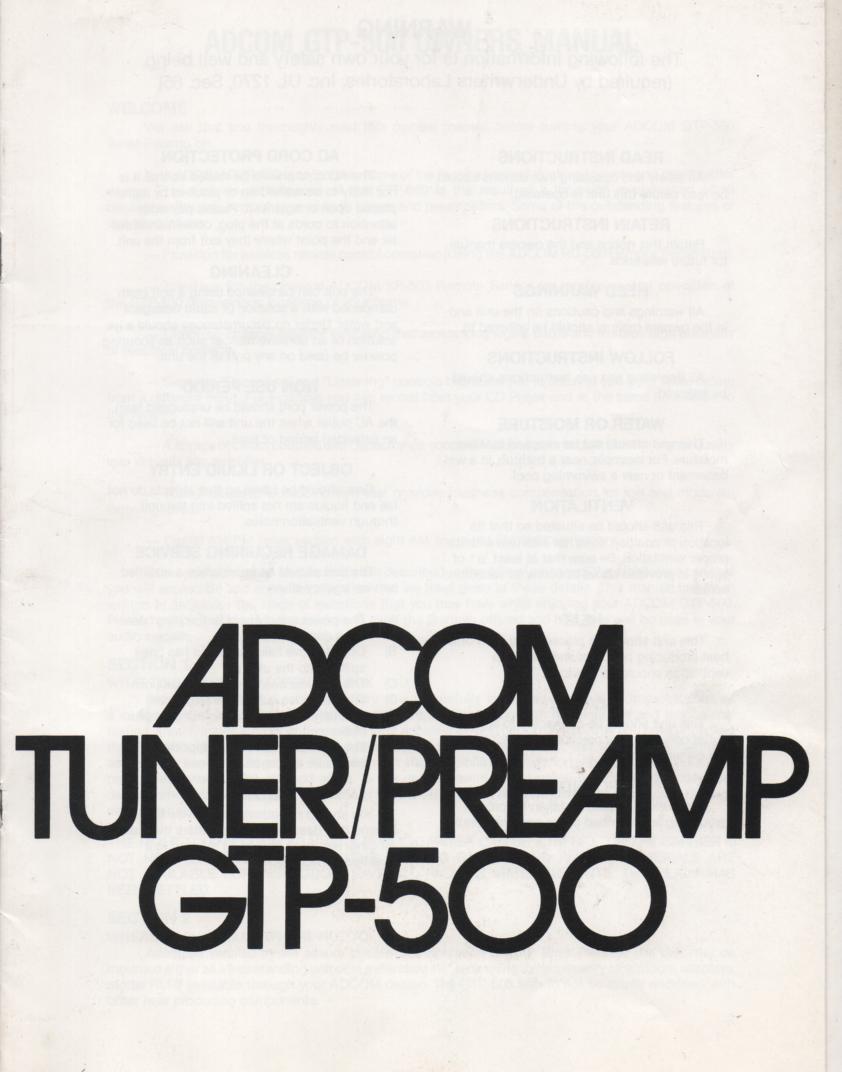 GTP-500 Tuner Pre-Amplifier Service Manual