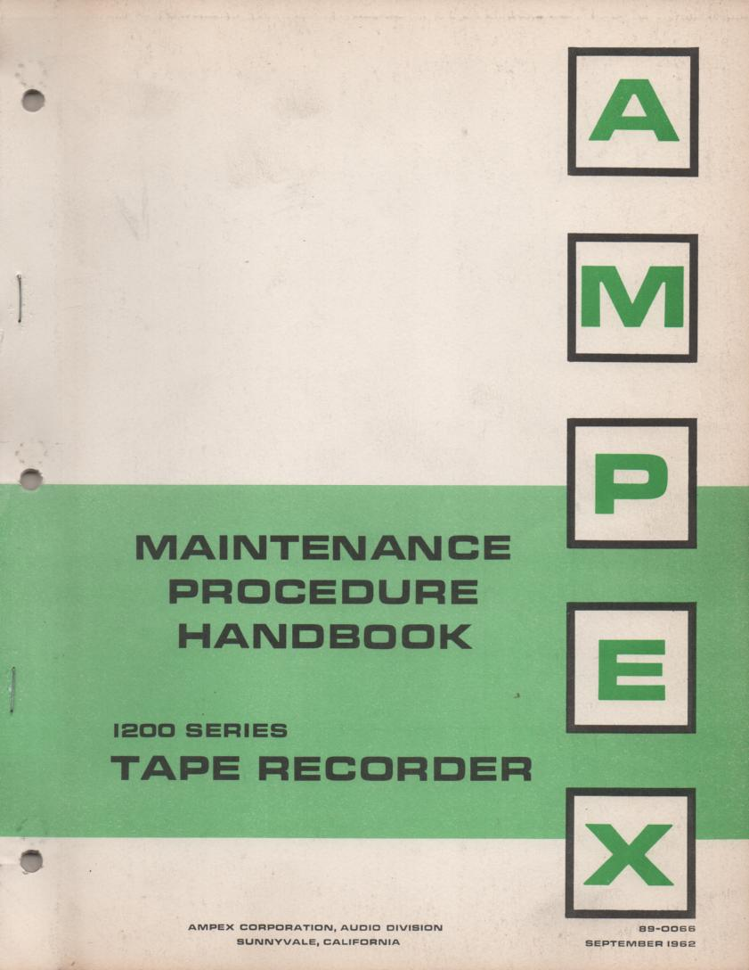 1250 Reel to Reel Service Manual  AMPEX