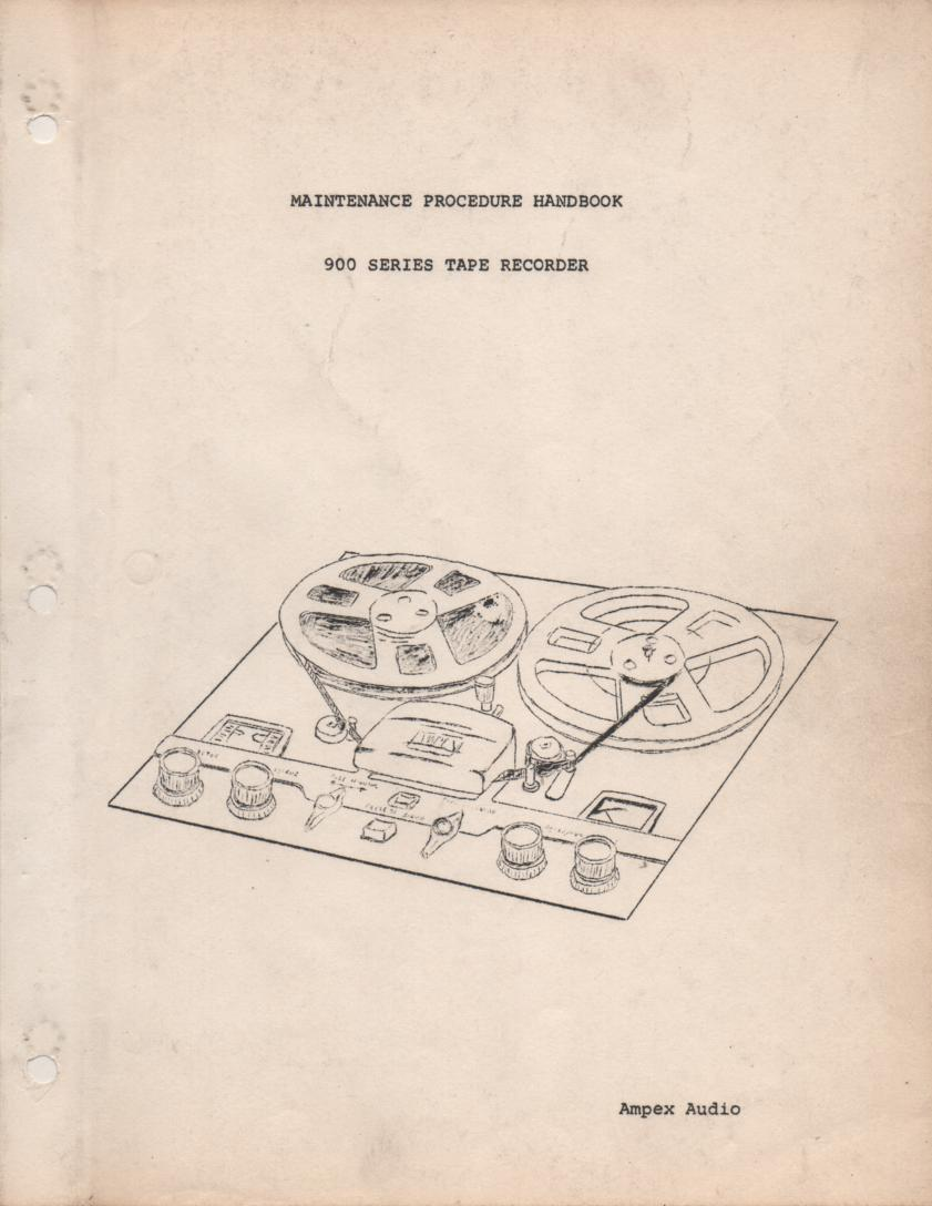 900 Reel to Reel Service Manual  AMPEX