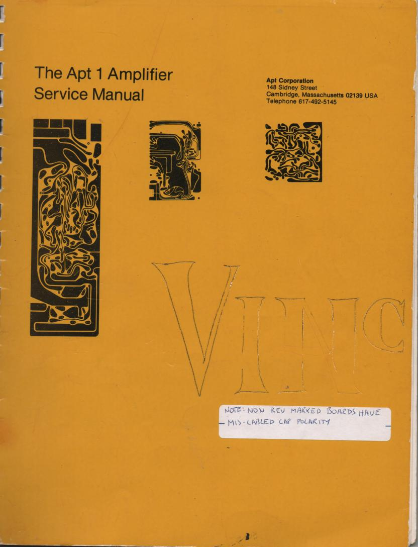 Model 1 Amplifier Owners Manual