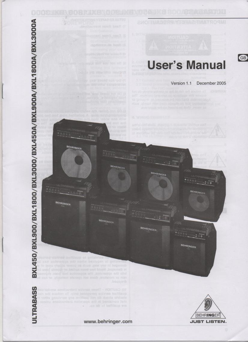 BXL450 BXL900 BXL1800 ULTRABASS English Owners Instruction Manual