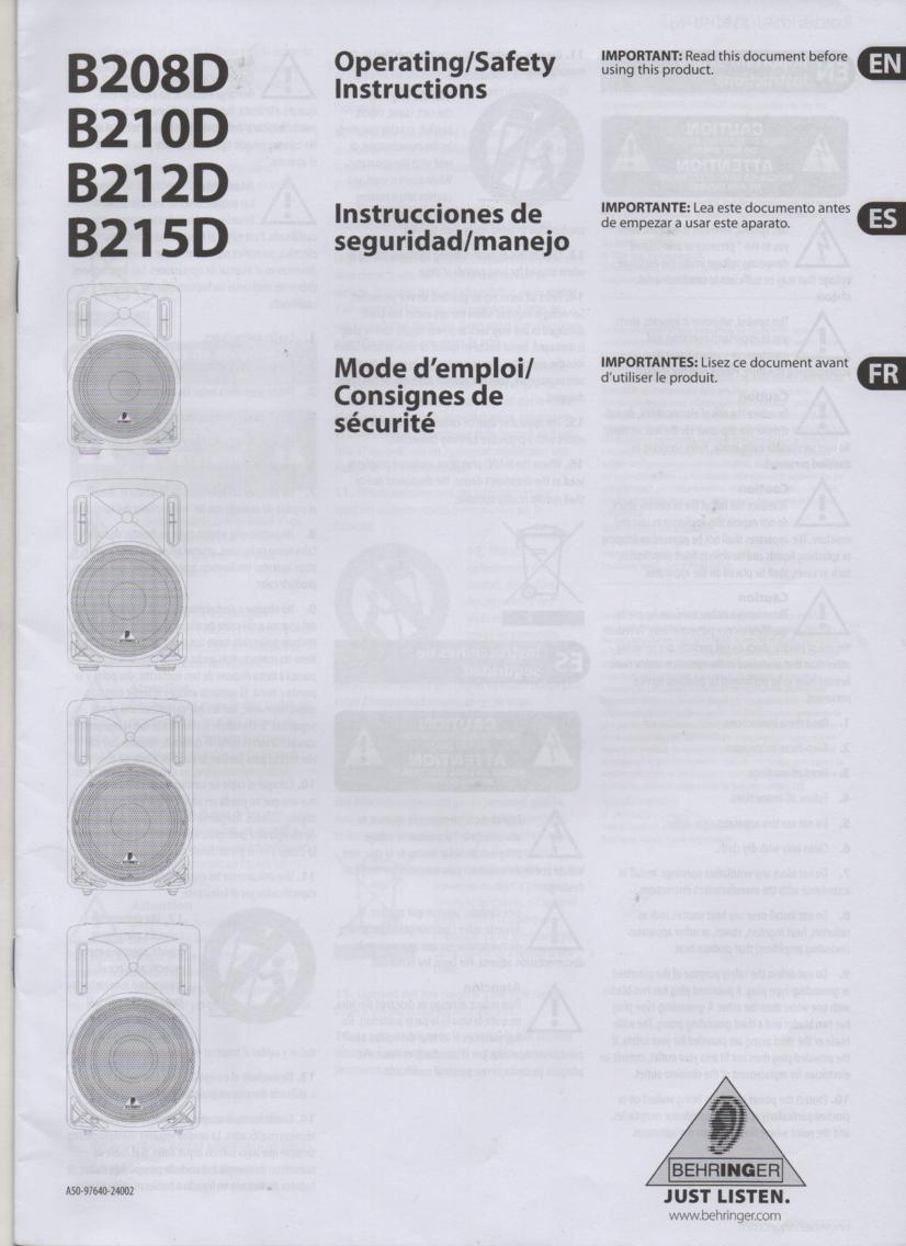 B208D B210D B212D B215D EUROLIVE Owners Instruction Manual. Manual is in English, Spanish, and French..