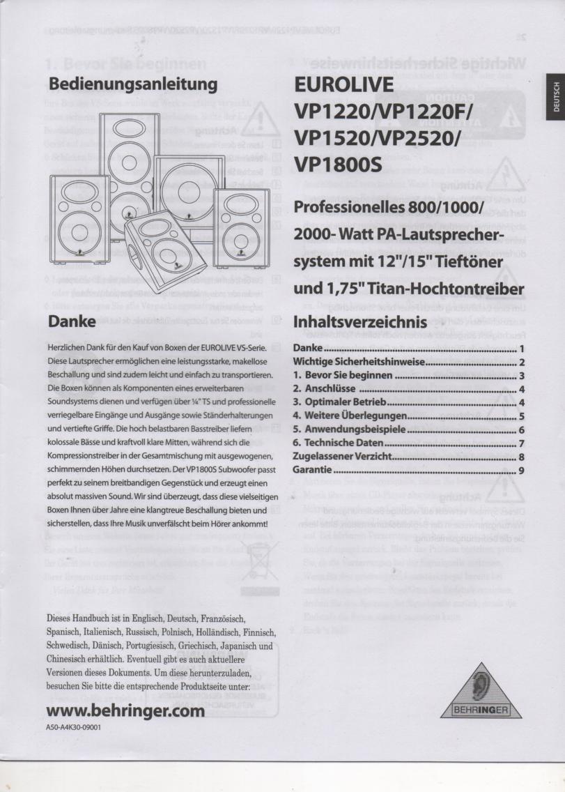 VP1220 VP1220F VP1520 VP1800S VP2520 Speaker System German Owners Instruction Manual.