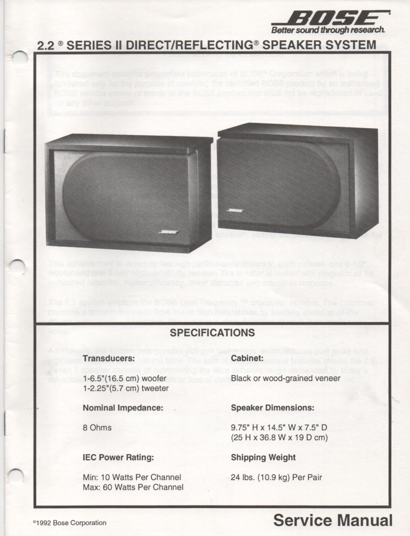 2.2 Series II Direct Reflecting Speaker System Service Manual