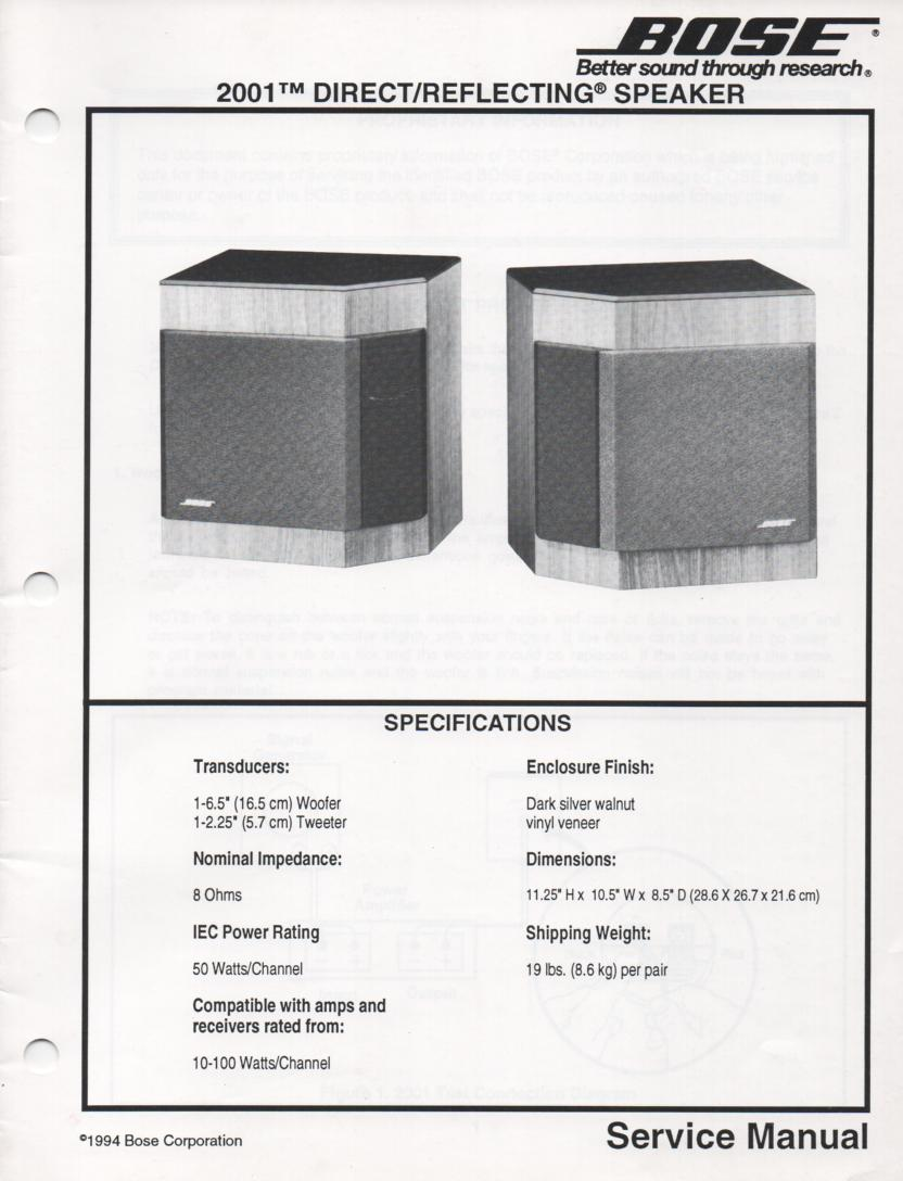 2001 Direct Reflecting Speaker System Service Manual