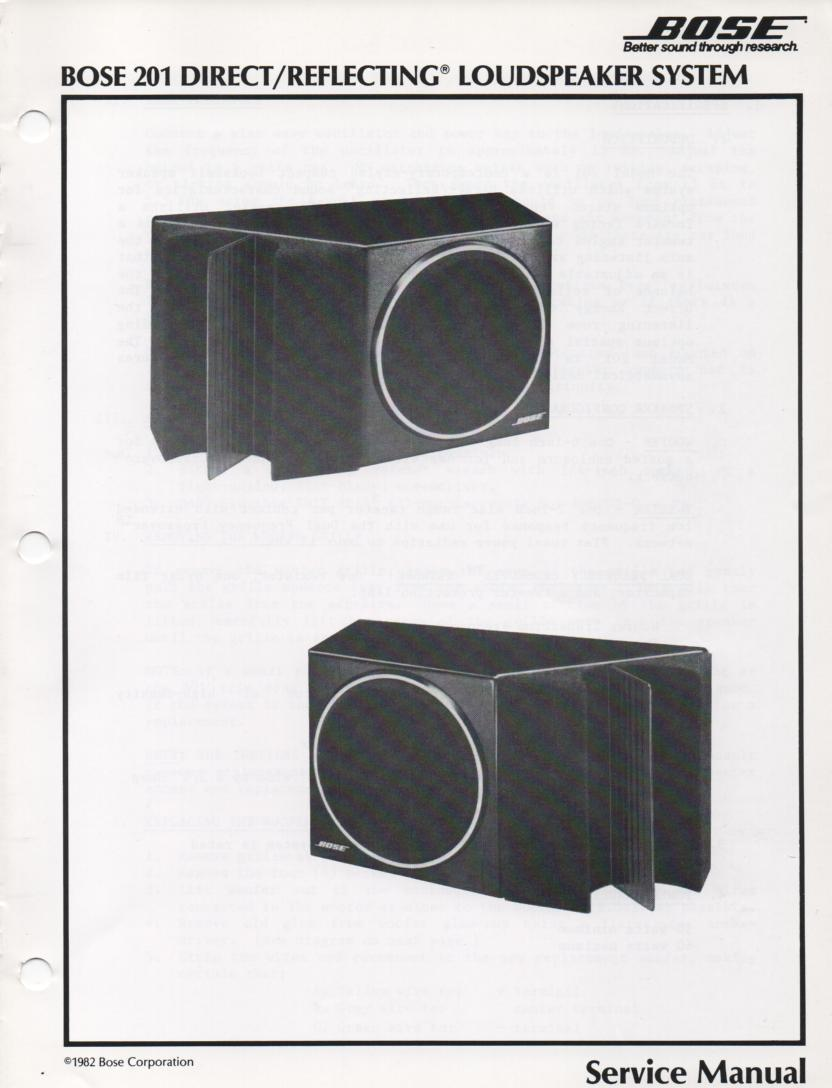201 Series I Direct Reflecting Speaker System Service Manual