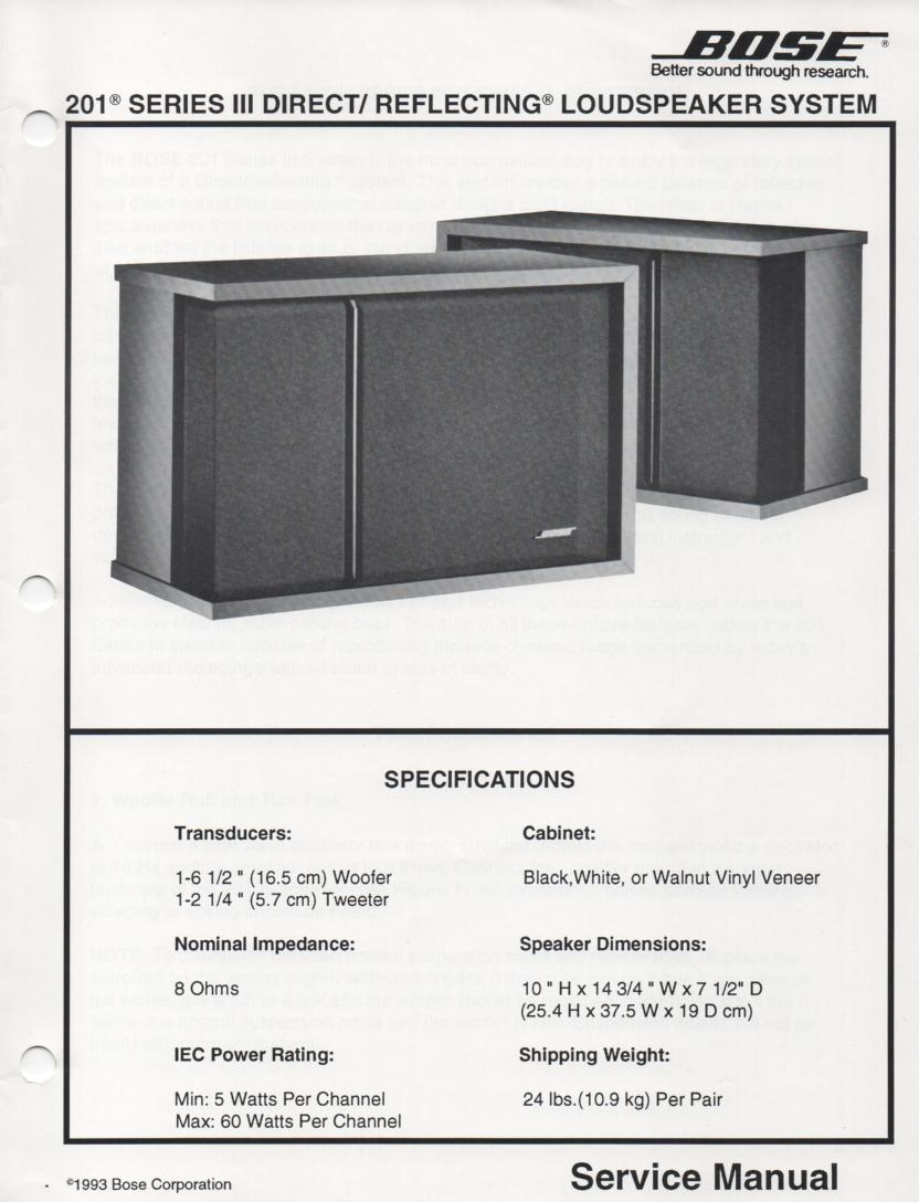 201 Series III Direct Reflecting Speaker System Service Manual