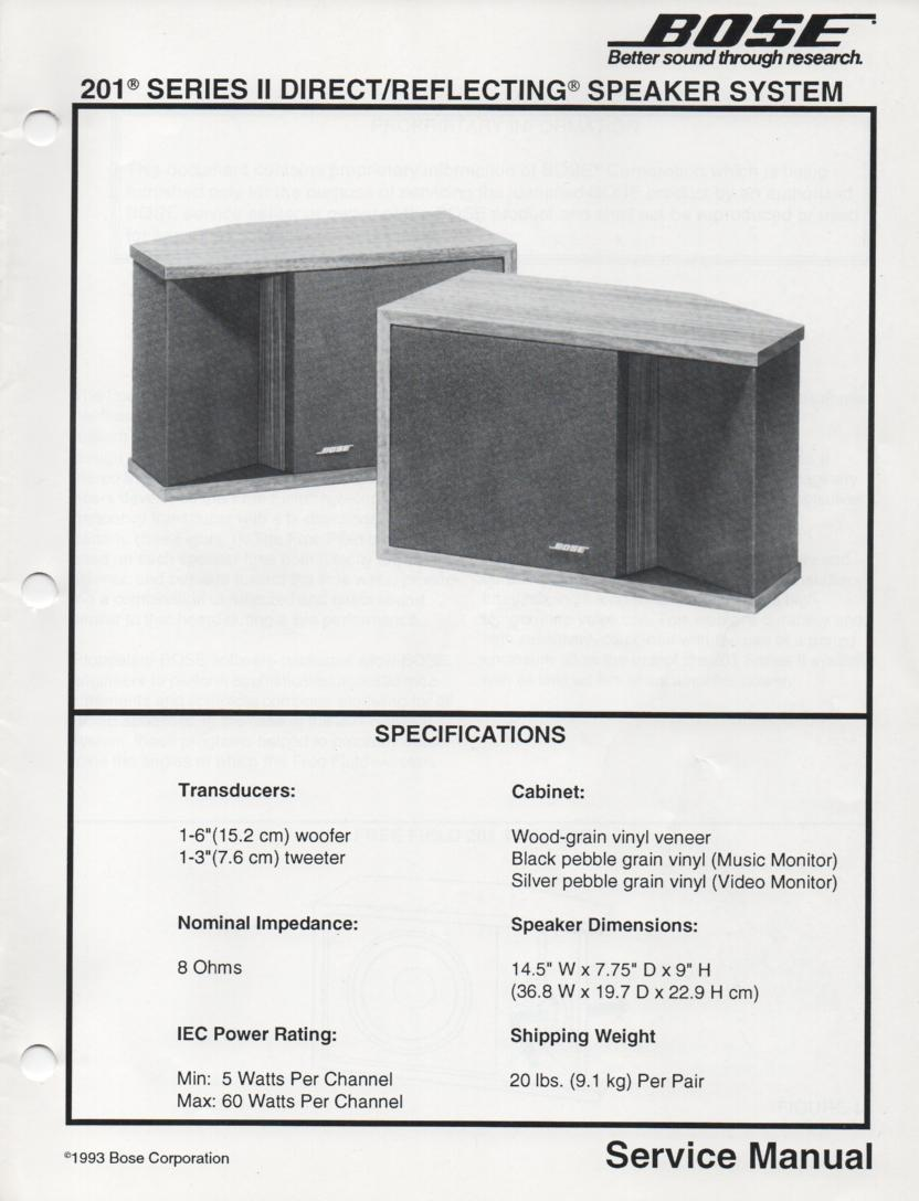 201 Series II Direct Reflecting Speaker System Service Manual