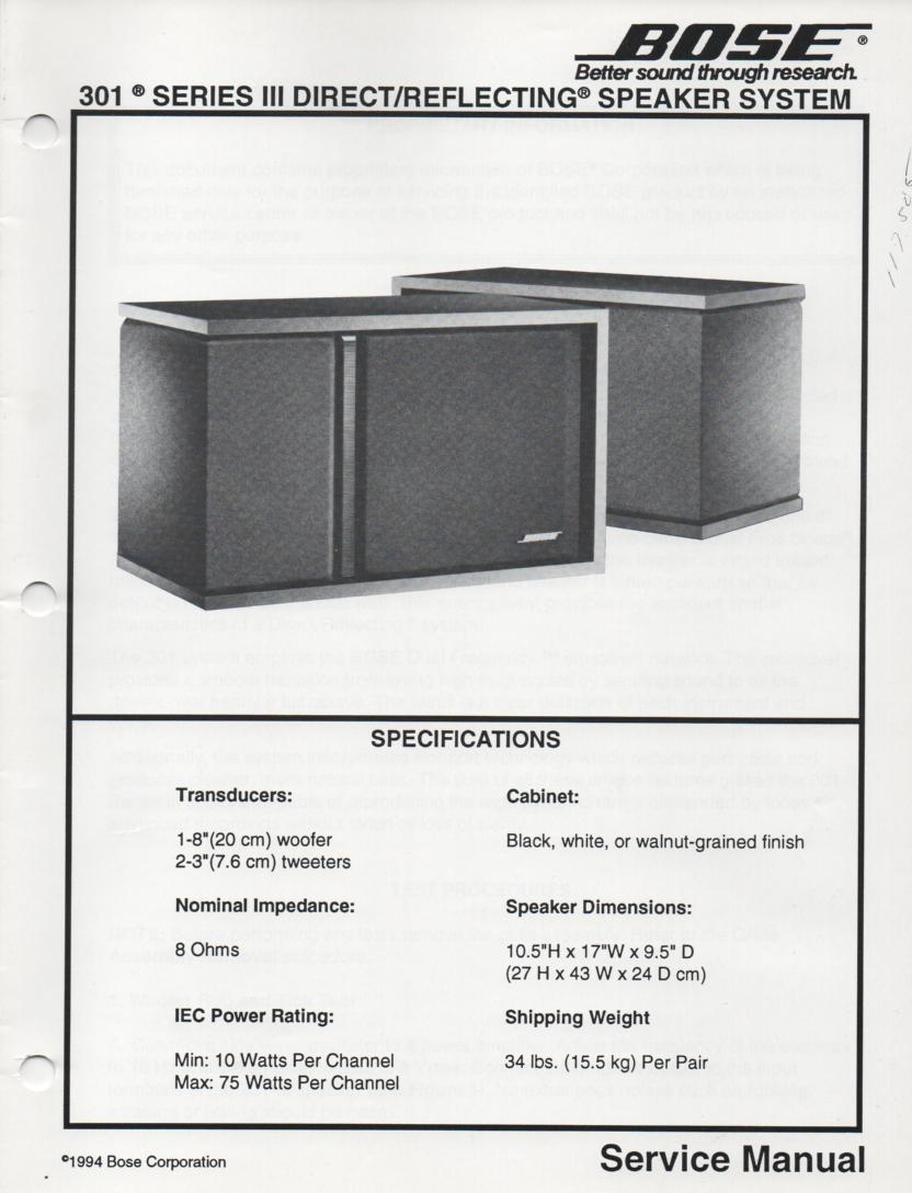 301 Series III Direct Reflecting Speaker System Service Manual