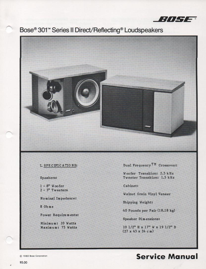 301 Series II Direct Reflecting Speaker System Service Manual