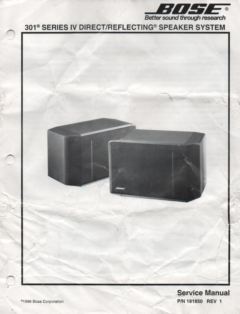 301 Series IV Direct Reflecting Speaker System Service Manual