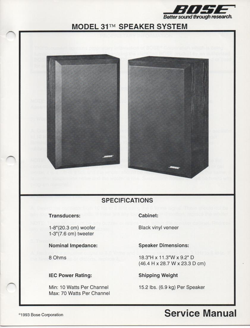 31 Speaker System Service Manual