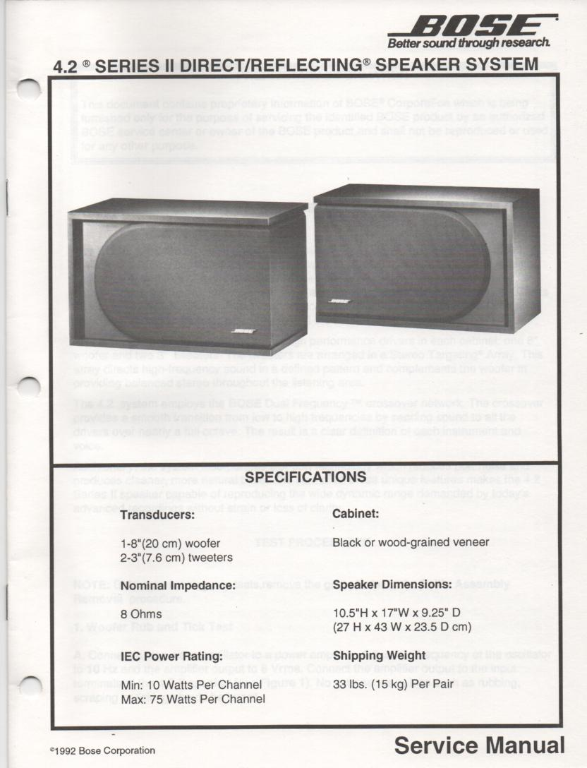 4.2 Series II Direct Reflecting Speaker System Service Manual