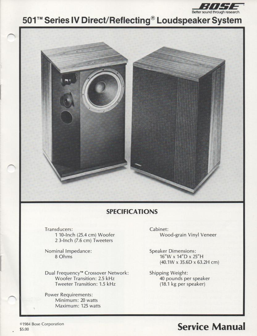 501 Series IV Direct Reflecting Speaker System Service Manual