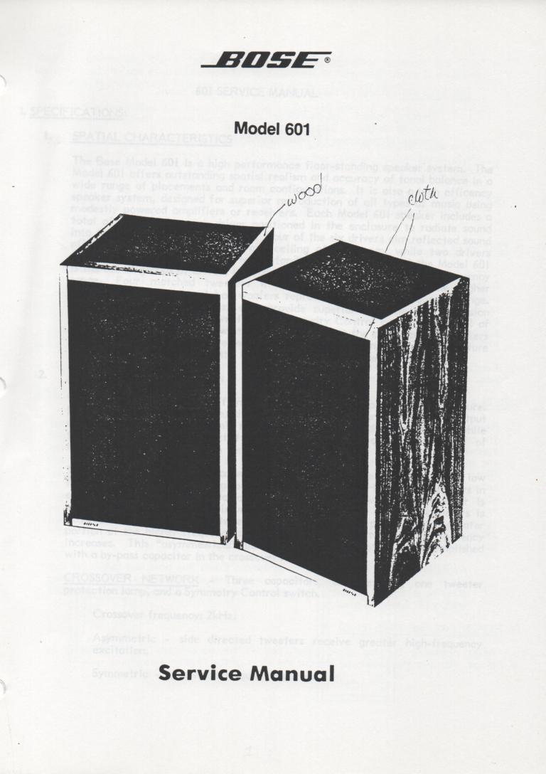 601 Series 1 Direct Reflecting Speaker System Service Manual
