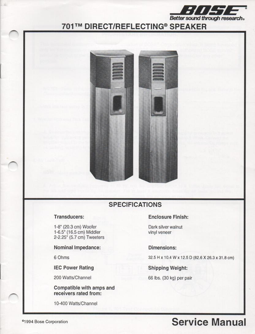 701 Direct Reflecting Speaker System Service Manual